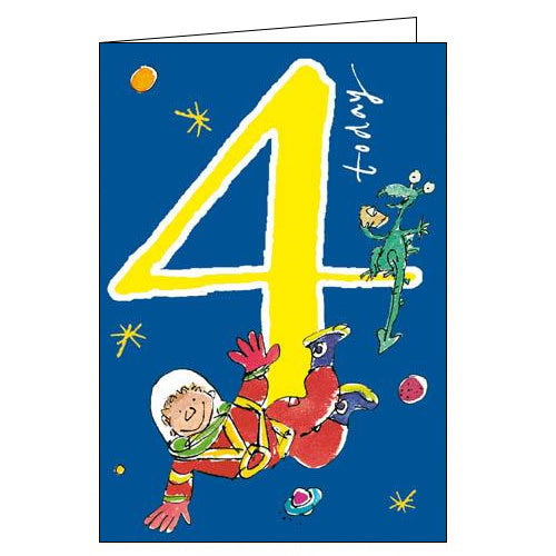 Woodmansterne quentin blake spaceman happy 4th Birthday card Nickery Nook