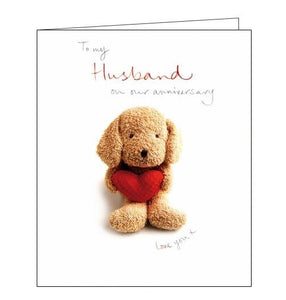 Woodmansterne soft heart cute husband on our anniversary card Nickery Nook