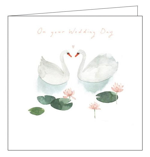 Woodmansterne swans wedding day card