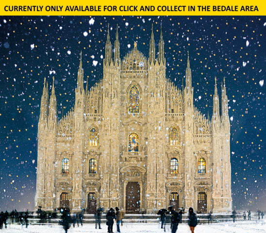 This traditional cardboard advent calendar folds at each side to allow it to stand up by itself. This advent calendar features Sandra Raccanello's stunningly detailed illustration of Milan Cathedral in the snow. Open the 24 doors to reveal an image behind each one.  This advent calendar DOES NOT contain chocolate.