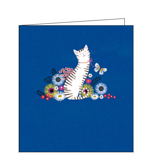 Woodmansterne cat in the flowers cute blank card