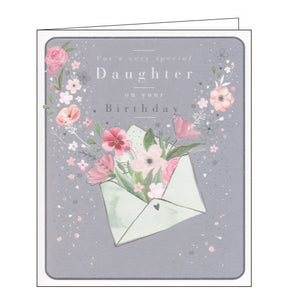 Woodmansterne envelope of flowers daughter birthday card