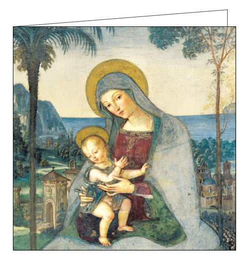 This Christmas card features a reproduction of detail from Pinturicchio's (1454 - 1513) Madonna and Child, showing the Virgin Mary holding a young Jesus. Detailing on the clothing and landscape behind has been picked out in gold foil.