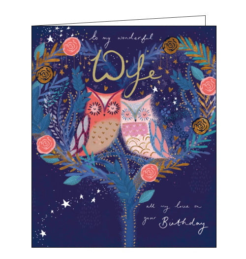 Woodmansterne owls wife birthday card