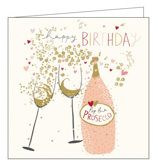 Woodmansterne peach and prosecco pop the prosecco birthday card