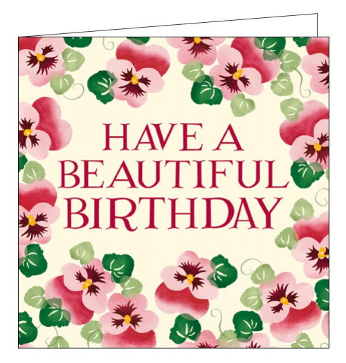 Woodmansterne pink pansies emma bridgewater birthday card