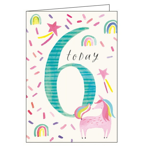 Woodmansterne unicorn 6th birthday card