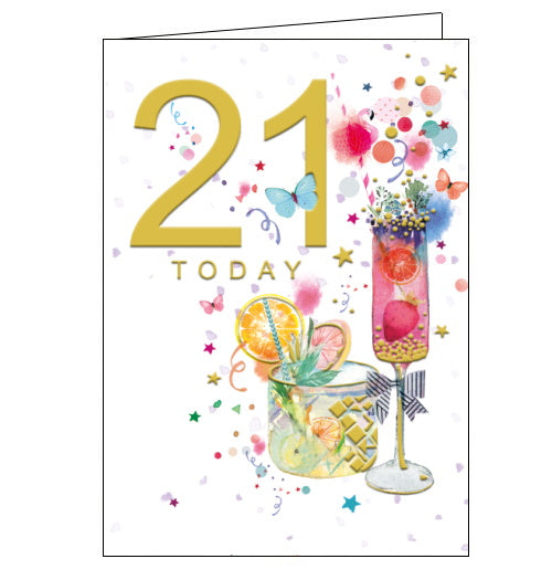 This colorful 21st birthday card is decorated with two delicious looking cocktails, complete with fresh fruit. Colourful confetti, stars and butterflies surround the glasses. Gold text on the front of the card reads