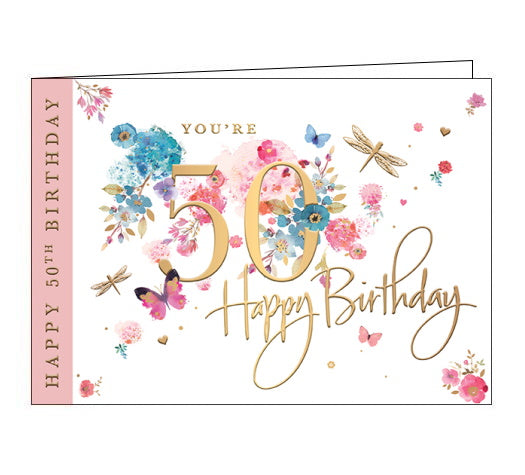 Gold text on the front of this lovely 50th Birthday card reads