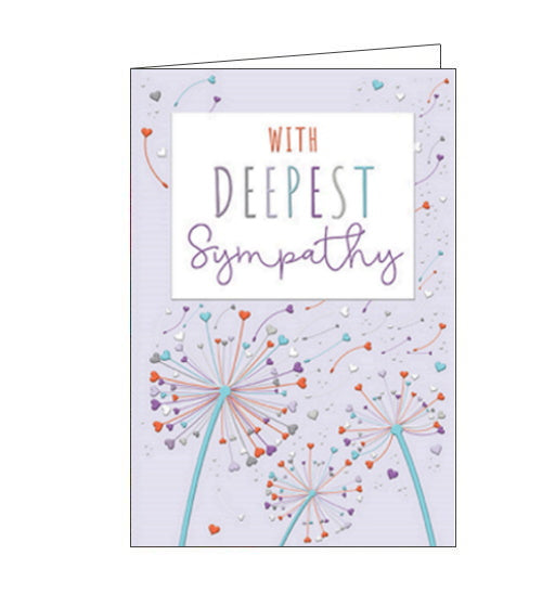 A beautiful, simple sympathy card to show the recipient that you are thinking of them at a difficult time. This sympathy card is decorated with dandelion clocks with heart shaped seeds. The text on the front of the card reads