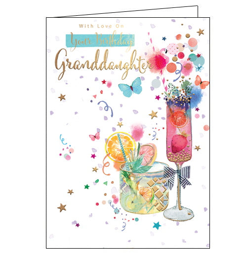 With Love on Your Birthday Granddaughter - Birthday CardThis birthday card for a special granddaughter is decorated with two delicious looking cocktails surrounded by butterflies and gold stars. The text on the front of the card reads