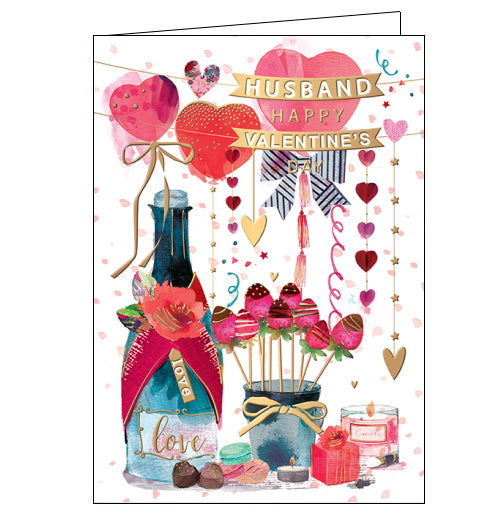This lovely Valentine's card for a special husband is decorated with an arrangement of heart-shaped balloons, a bottle of champagne, chocolate covered strawberries and gifts. Text on the front of the card reads