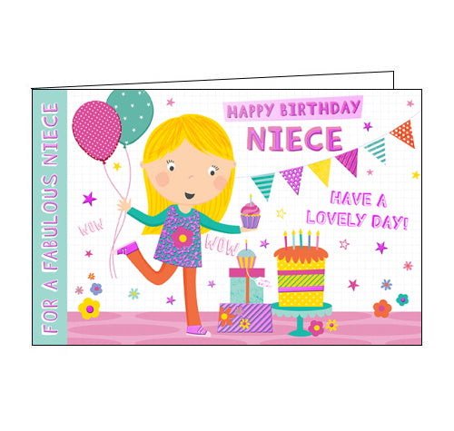 Happy Birthday Niece - Birthday CardThis lovely birthday card for a special niece features a cartoon image of a young girl holding balloons in one hand and a cupcake in the other. The text on the front of the card reads