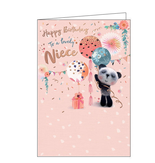 This birthday card for a lovely Niece features a black and white teddy bear holding a bunch of balloons, with bunting and confetti in the background. The text on the front of the card read's