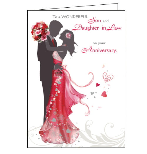 This anniversary card for a special son and daughter in law is decorated with a silhouette of a couple dancing. The gentleman's tie and the lady's dress and bouquet of flowers have been coloured red. The text on the front of the card reads
