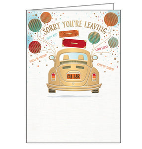 "This sorry you're leaving card features a gold car with a number plate that reads ""CU L8R"". Colourful balloons and golden confetti surround the car along with good wishes that read ""Sorry you're leaving"", ""Tatty bye!"", ""you'll be missed!"", ""Good luck"" and ""Keep in touch!"