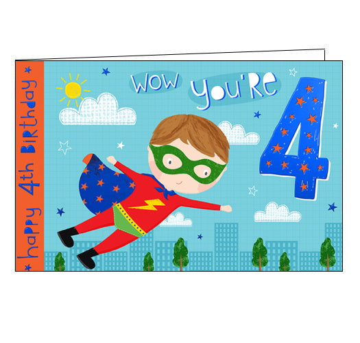 This 4th birthday card is decorated with a boy-superhero in a red costume with a blue cape, flying high over the city. The text on the front of the card reads