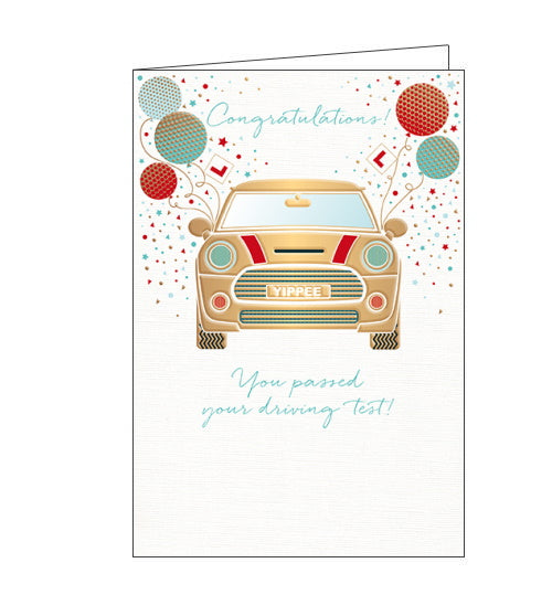 This congratulations card a gold mini car with balloons tied to the wing mirrors and a numberplate that reads