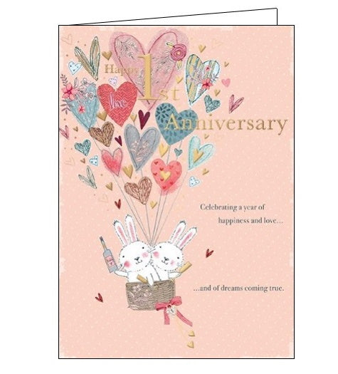 Words 'n' Wishes Happy 1st Anniversary card Nickery Nook