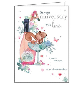 Words 'n' Wishes On your Anniversary with love Happy Anniversary card Nickery Nook