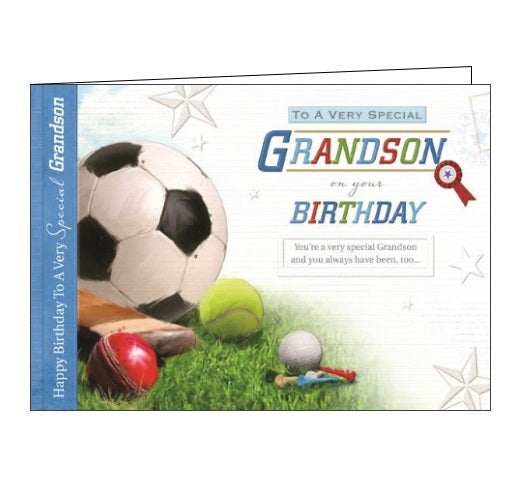 Words 'n' Wishes Treasured Moments football sports golf cricket grandson Birthday card Nickery Nook
