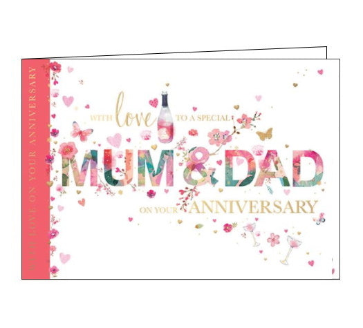 Words 'n' Wishes blossom mum and dad on your anniversary card Nickery Nook