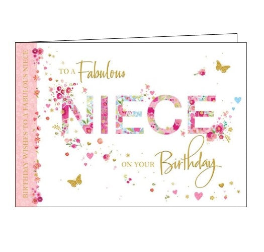 Words 'n' Wishes flowers butterflies to a fabulous niece on your birthday happy birthday niece birthday card Nickery Nook