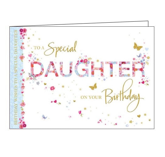 Words 'n' Wishes flowers butterflies to a special daughter on your birthday daughter birthday card Nickery Nook
