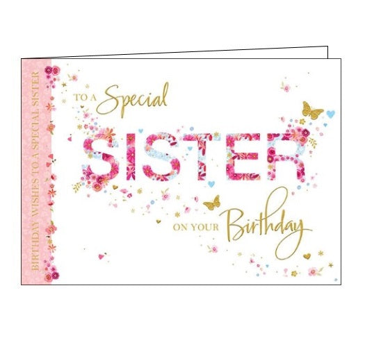 Words 'n' Wishes flowers butterflies to a special sister on your birthday sister birthday card Nickery Nook