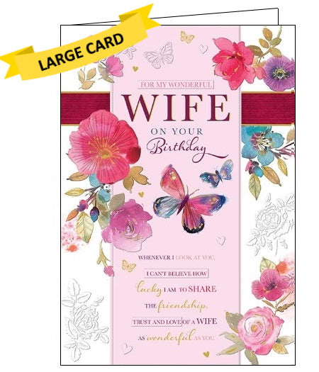 Words 'n' Wishes flowers butterflies wonderful wife birthday card Nickery Nook