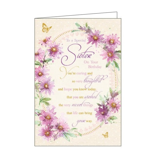 Words 'n' Wishes flowers to a special sister birthday card Nickery Nook