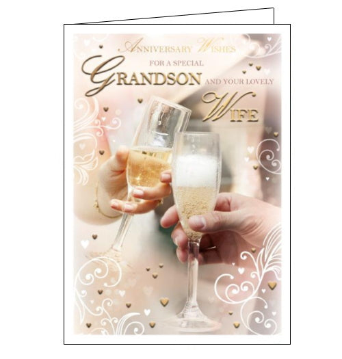 Words 'n' Wishes grandson and your wife anniversary card Nickery Nook
