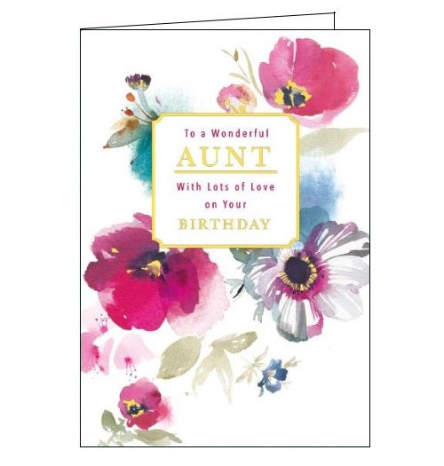 Words 'n' Wishes happy birthday to a wonderful aunt happy birthday aunt birthday cards for aunt florals flowers birthday card Nickery Nook