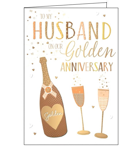 Words 'n' Wishes husband on our golden wedding anniversary card Nickery Nook
