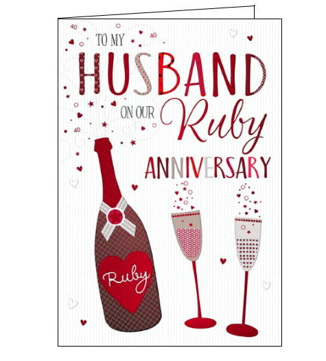 Words 'n' Wishes husband on our ruby wedding anniversary card Nickery Nook