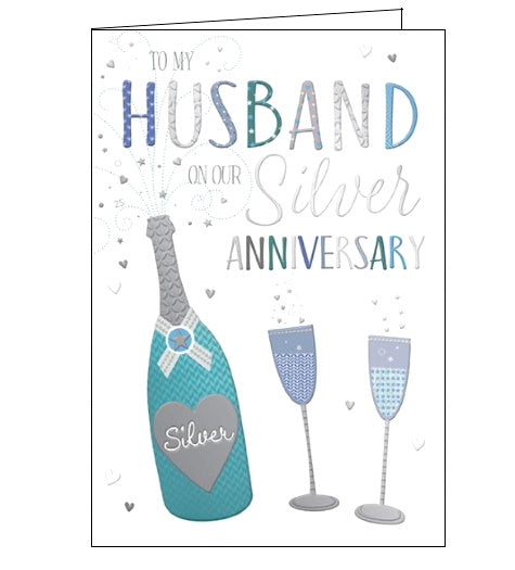 Words 'n' Wishes husband on our silver wedding anniversary card Nickery Nook