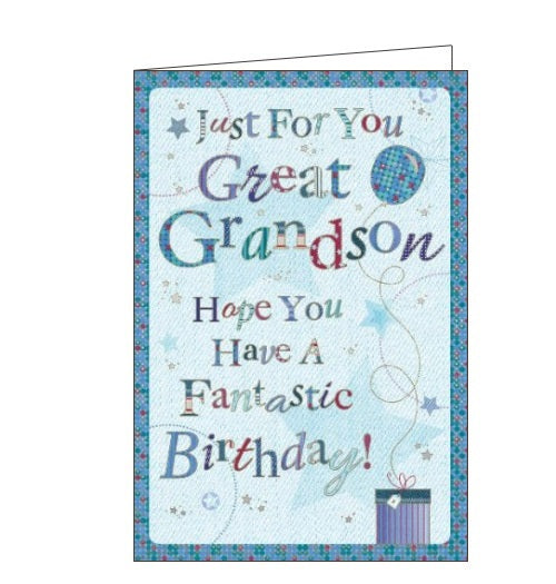 Words 'n' Wishes just for you great grandson great-grandson birthday card Nickery Nook