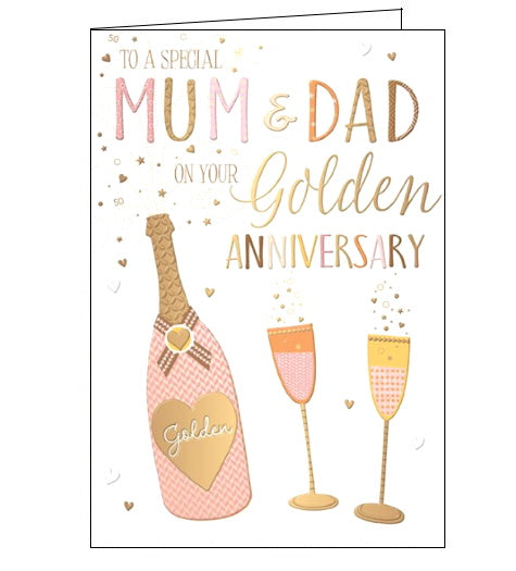 Words 'n' Wishes mum and dad on your golden wedding anniversary card Nickery Nook