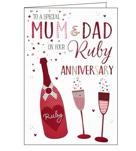 Words 'n' Wishes mum and dad on your ruby wedding anniversary card Nickery Nook