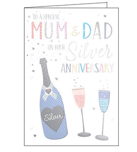 Words 'n' Wishes mum and dad on your silver wedding anniversary card Nickery Nook