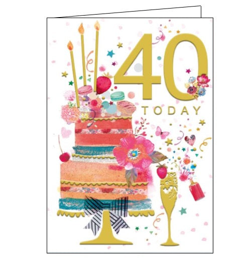 Words 'n' Wishes pinata 40th birthday 40 today birthday card for her Nickery Nook