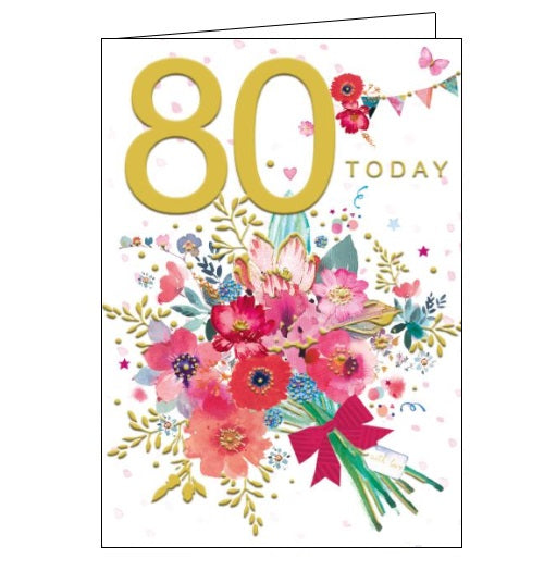 Words 'n' Wishes pinata 80th birthday 80 today birthday card for her Nickery Nook