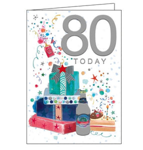Words 'n' Wishes pinata 80th birthday 80 today birthday card for him Nickery Nook