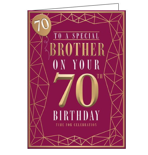 Words 'n' Wishes special brother on your 70th birthday card Nickery Nook