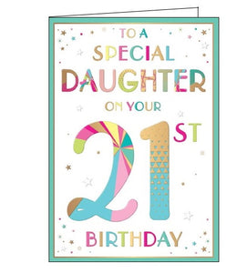 Words 'n' Wishes to a special daughter on your 21st birthday card Nickery Nook