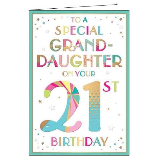 Words 'n' Wishes to a special granddaughter on your 21st birthday card Nickery Nook