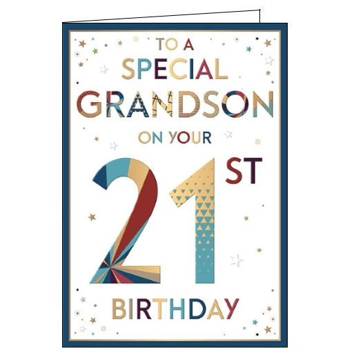 Words 'n' Wishes to a special grandson on your 21st birthday card Nickery Nook
