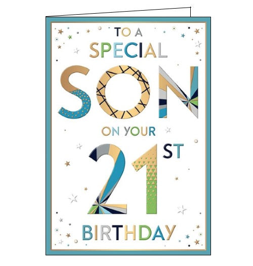 Words 'n' Wishes to a special son on your 21st birthday card Nickery Nook