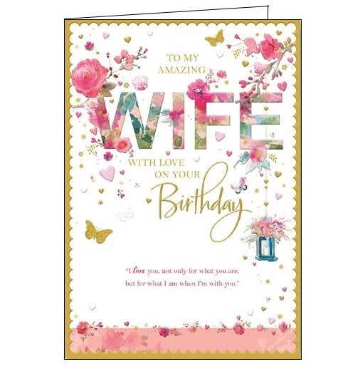 Words 'n' Wishes to my amazing wife birthday card Nickery Nook