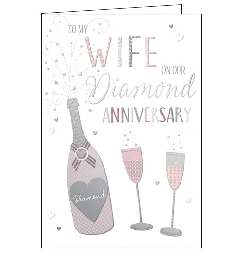Words 'n' Wishes wife on our diamond 60th anniversary card Nickery Nook